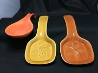 2 Vintage Lillian Vernon Spoon Rest Leaf Nature Heavy Weight 8.75x3.75 ONE FREE!