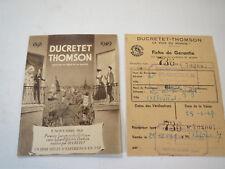 ANCIENNE PUBLICITÉ TSF DUCRETET THOMSON FICHE VIEUX POSTE 1949 old radio french