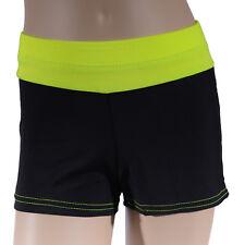 Girls Black Fluro Yellow Bike Shorts, Girl's Athletics Active Dance Gymnastics