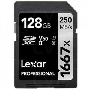 Lexar Professional 128GB SDXC UHS-II ,V60, 1667x, up to 250MB/s read,90MB/s