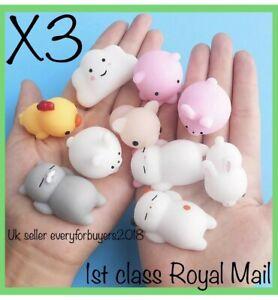 Cute Mochi Squishies Kids Toys Animal Fidget moshi Cute Kawaii Rilakkuma 3 Pack