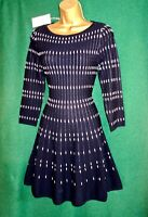 New MONSOON UK 16 18 'XL' Navy White Short FREIDA Stretch Knit Fit'n'Flare Dress