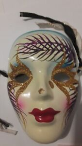 Ceramic face mask Mardi Gras style
