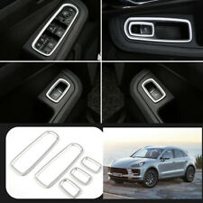 For Porsche Macan 2014-2020 ABS Silver Window lift panel switch cover trim 5pcs