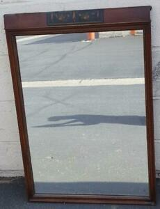 GORGEOUS Antique Solid Wood Wall Mirror - BEAUTIFUL PAINT DETAIL - VGC - 19th C