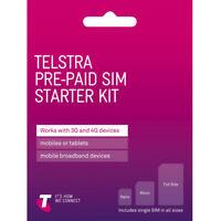 AUSTRALIAN TELSTRA PREPAID MULTI FIT SIM CARD PACK 3G 4G LTE STANDARD NANO MICRO