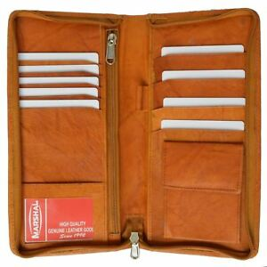 Zip Around Leather Travel Wallet with Passport & Boarding pass Holder by Marshal