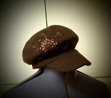 Parkhurst Vintage Sequin Beaded Brown Wool Hat Cabbie Newsboy Cap Visor Beret