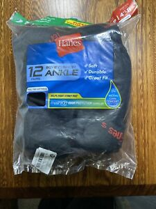 Hanes ~ Boy's Kids 12-Pairs Cushion Ankle Socks Black Size 4 1/2-8 1/2 Small