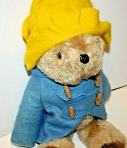 Vintage Paddington Bear Plush Stuffed Bear Blue Coat Yellow Hat