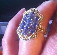 Tanzanite Ring, Sterling Silver. 14Kt Yg Over SS. Size 6