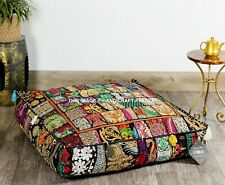"""Indian Floor Pillow Black Patchwork Meditation Cushion Cover Dog Bed Square 35"""""""
