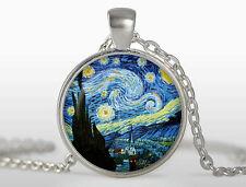 Collana con Ciondolo Van Gogh - Notte Stellata Starry Night - Col. Argento