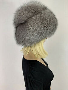 Blue Frost Fox Fur Beret Hat Adjustable All Fur Double Layer Round Fur Hat