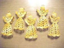 Lot Of 5 Orange & Yellow Variegated Handmade Crocheted Christmas Tree Angels