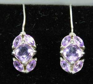 STERLING SILVER Dainty Dangle Earrings PURPLE AMETHYST CLUSTER Victorian Style