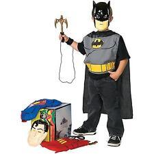 DC Superhero Child Boy Dress up Trunk Superman Batman and Robin Trio Costume Kit