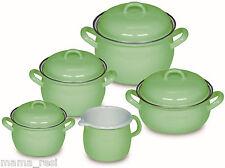 RIESS Emaille Topfset grün 5-teilig Kochtöpfe INDUKTION Töpfe Fleischtopf Deckel