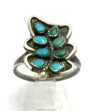 Vintage Zuni Sterling Silver Petit Point Turquoise Ring