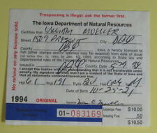 1994 Iowa Conservation Commission Resident Fishing License.Free Shipping!