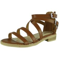 Womens Strappy Gladiator Sandals Ladies Summer Buckle Flats Low Heel Shoes Size Tan UK 6 / EU 39 / US 8