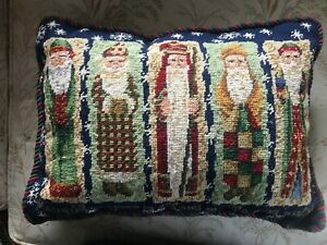 Beautiful Christmas Pillow Featuring Old World Santa's in Needlepoint!