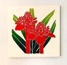 Vintage Original Silk Screen Print on Canvas / Red Flowers / 1970s / 18 X 18