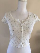 brandy melville crop cotton eyelet white /blue floral button up zelly top NWT