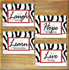 Red Zebra Wall Art Print Decor Quotes Sayings Laugh Love Learn Hope Girl Bedroom