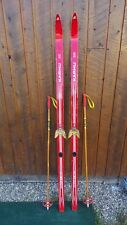 "Vintage Wooden 69"" Long RED Skis with Bindings Signed KARHU + Bamboo Poles"