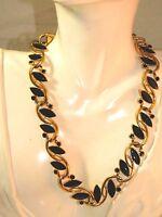 "Vintage Trifari Wide Black Enamel Gold tone Collar 19"" Necklace extendr 12h 9"