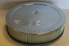 "SBC 350 High Performance Logo Chrome 14"" x 3"" Round Air Cleaner Filter SB Chevy"
