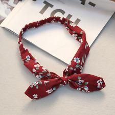 Vintage Women Girls Elastic Bow Knot Hair Band Chiffon Pattern Headband Flower