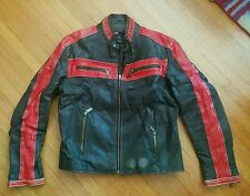 DIESEL VALDEN BLACK & RED LEATHER CAFE RACER MOTORCYCLE JACKET S BIKER