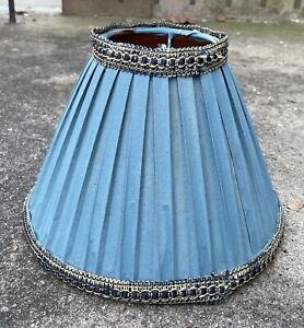 Vintage Antique Lamp Shade Stiff Fabric Silk? Accordion 8 x 10 Inches Light Blue