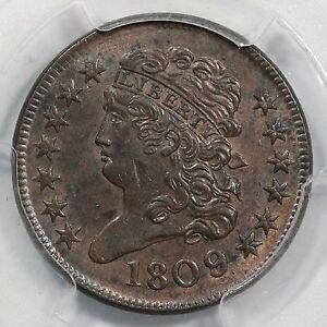 1809/6 C-5 PCGS MS 62 BN Classic Head Half Cent Coin 1/2c Ex; Carvin Goodridge