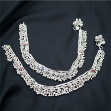 Pakistani Indian Silver Tone Payal Anklet Pair with Colorful Beads Loud Bells