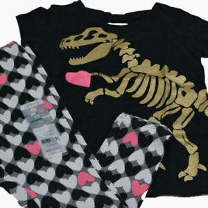 New Carter's Girls 2 Pc T-Shirt And Leggings Dinosaur Heart Outfit Set