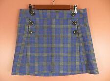 SK12152-GAP Misses 64%Wool Mini Skirt Button Decor Pockest Multi-Color Plaids 10