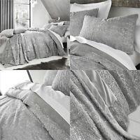 By Caprice Home Silver Bedding Soft Faux Fur Metallic Sparkle Duvet Cover Set