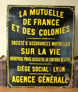 Antique Vintage French Yellow Black Enamel Life Insurance Lyon Convex Wall Sign