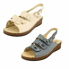 Wedge 100% Leather Wide (EE) Court Shoes for Women