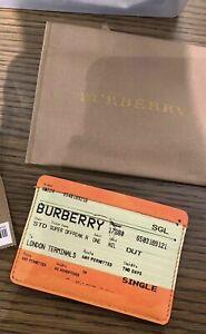 Burberry Train Ticket Print Leather Card Case In Orange $250