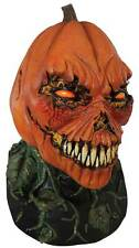 SCARY EVIL LATEX SKULL PUMPKIN HEAD MASK & NECK HORROR HALLOWEEN FANCY DRESS NEW