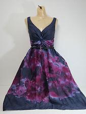 Neiman Marcus Lela Rose Womens Gray Watercolor Sleeveless V-Neck Dress SZ 6
