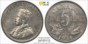 1934 Canada 5c PCGS AU 55, Far S Witter Coin