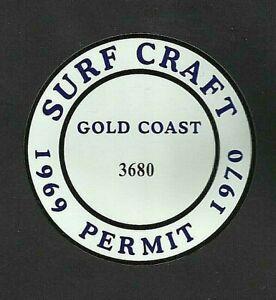 """""""SURFBOARD GOLD COAST SURF CRAFT PERMIT"""" RETRO Decal / VINYL STICKER"""