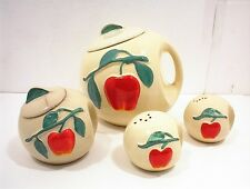 PIPPIN POTTERY COOKIE JAR GREASE SALT & PEPPER CANISTER RED APPLE HANDLE USA