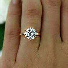 Moissanite 6 Prong Solitaire Engagement Ring 14K Rose Gold 2Ct Round Near White