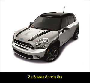 For MINI Cooper COUNTRYMAN Front Bonnet Stripes Set VINYL STICKER DECAL Graphics